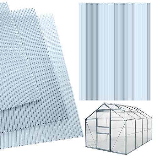 deuba 14x polycarbonat hohlkammerstegplatten 4mm 1025 m² doppelstegplatte 1210x605 stegplatte gewaechshausplatte - Deuba 14x Polycarbonat Hohlkammerstegplatten 4mm 10,25 m² Doppelstegplatte 1210x605 Stegplatte Gewächshausplatte